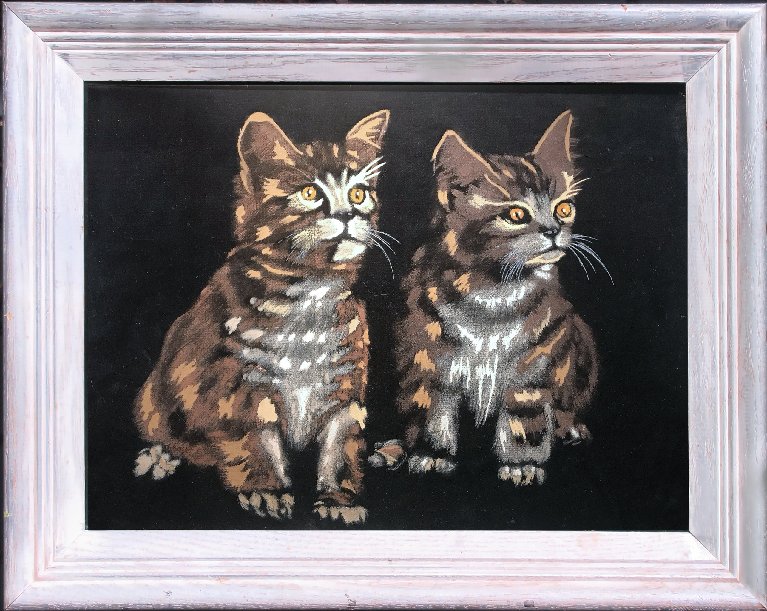 black velvet kitten painting before Cool Cat and Kitten redirected painting by Ange Beever