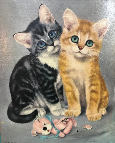pair of kittens before lucha kittens redirected painting by Ange Beever
