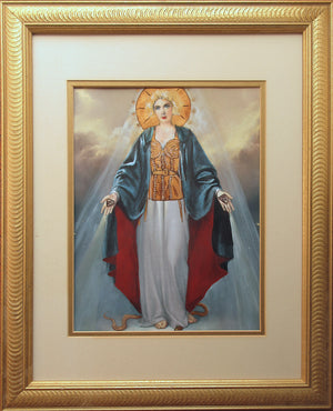 Blonde Madonna - Redirected painting by Ange Beever BVR ART - Madonna with gold Gaultier bustier cone bra  - original painting