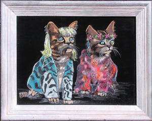 BVR ART Cool Cat and Kitten 2020 redirected painting by Ange Beever - print