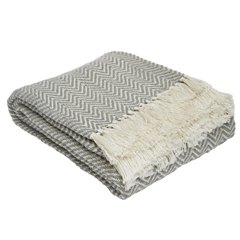 Weaver Green | Dove Grey Herringbone Blanket