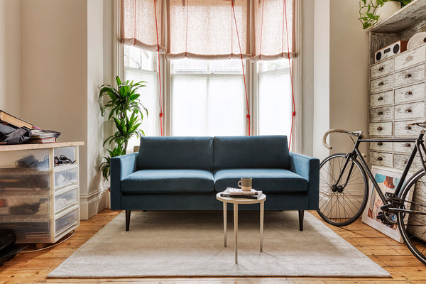 MODEL 01 SWYFT SOFA - VELVET TEAL - 2 SEATER