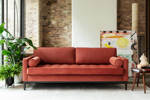 MODEL 02 SWYFT SOFA - VELVET BRICK - 3 SEATER