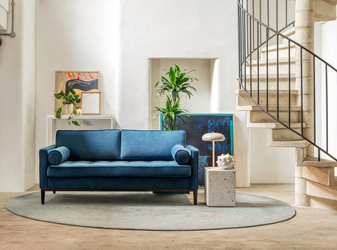 MODEL 02 SWYFT SOFA - VELVET TEAL - 3 SEATER