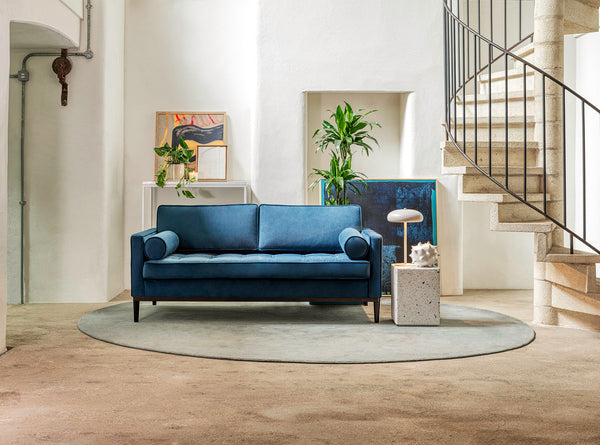 MODEL 02 SWYFT SOFA - VELVET TEAL - 2 SEATER