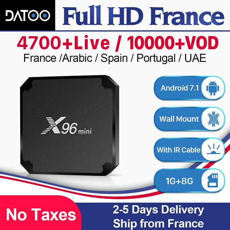 Box IPTV X96mini + 12 mois DaToo Player IPTV WIFI/Android 9.0/4K