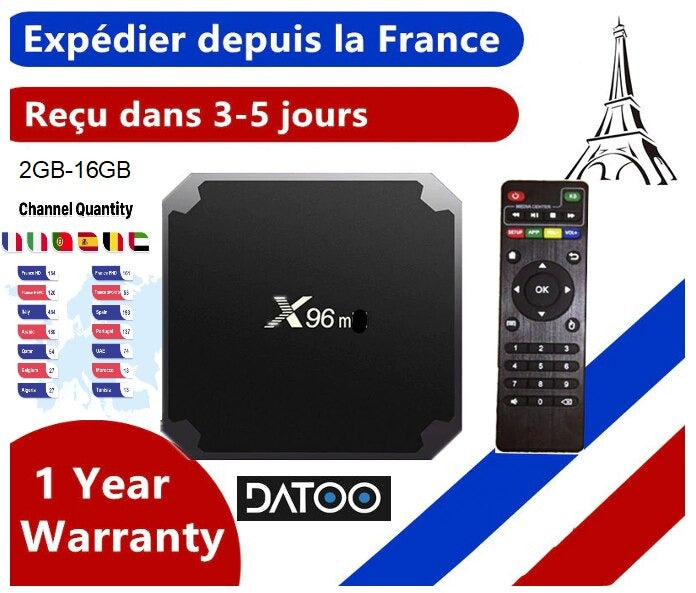 Box IPTV X96mini + 12 mois DaToo Player IPTV WIFI/Android 9.0/4K 2GB-16GB