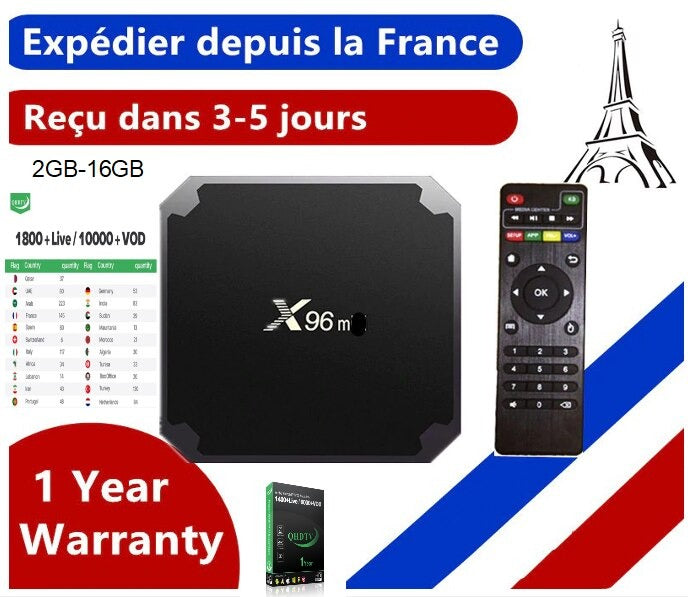 Box IPTV X96mini + 12 mois QHDTV IPTV WIFI/Android 9.0/4K 2GB-16GB