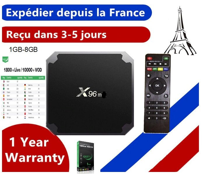 Box IPTV X96mini + 12 mois QHDTV WIFI/Android 9.0/4K/ 1GB-8GB