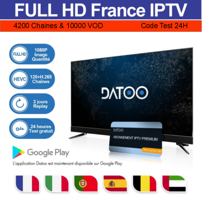 Test DaToo code 24H IPTV 4200 Chaines & 10000 VOD + REPLAY