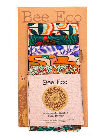 REUSABLE BEEZWAX FOOD WRAPS - SET OF 5