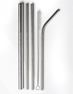 CLASSIC STAINLESS STEEL STRAWS - SET OF FOUR (MIXED)