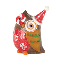 Candy Cane Eye Owl Decor