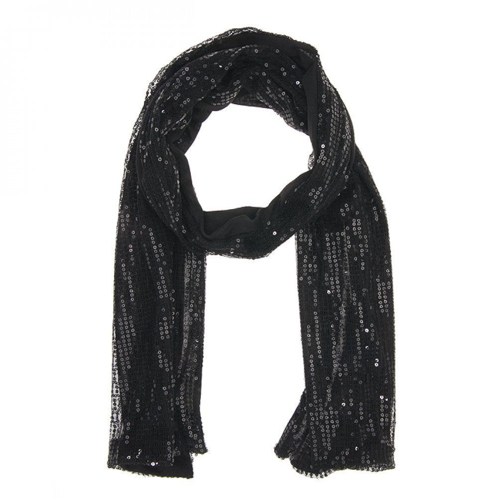 Black Sonya Sequin Scarf