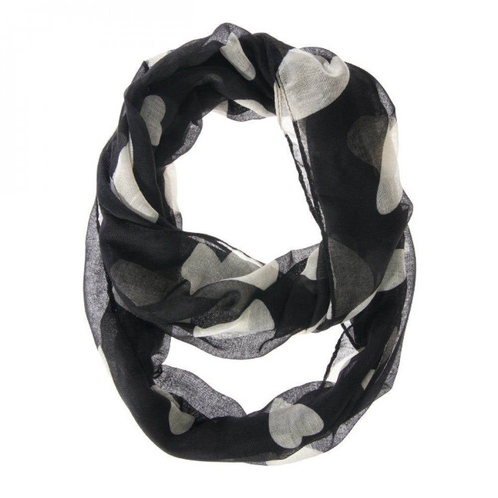 Black And White Heart Scarf