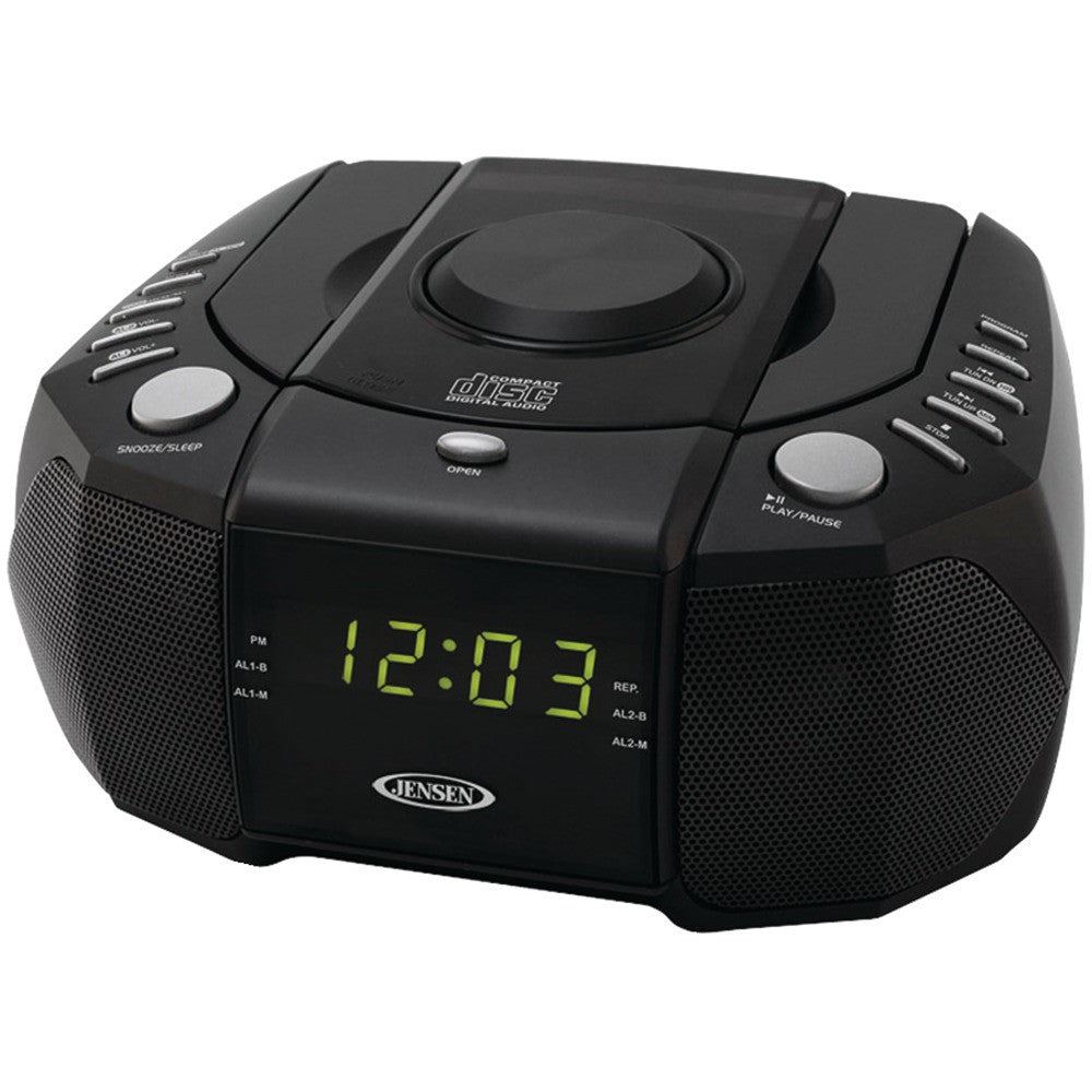 Jensen Dual Alarm Clock Am And Fm Stereo Radio With Top Loading Cd Player