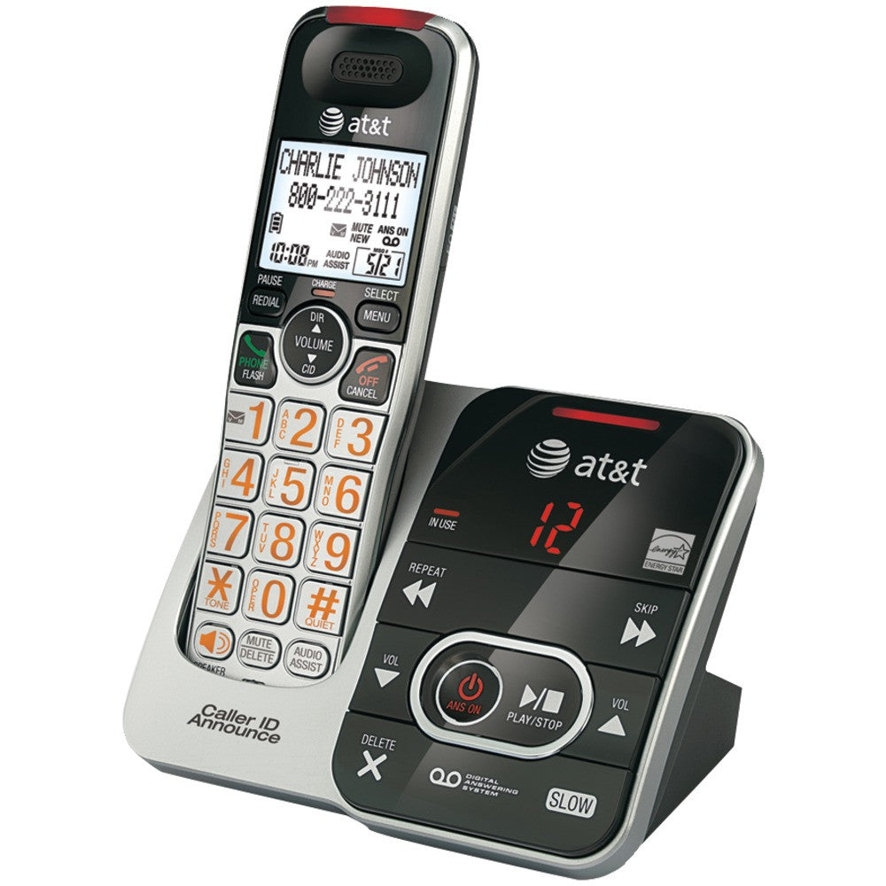Att Dect 6.0 Big Button Cordless Phone With Digital Answering System & Caller Id