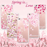 Beautiful Floral Cherry Blossom Case Cover For iphone 6 6S Transparent Silicone Cell Phone Cases