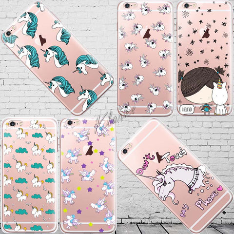 Cute Cartoon Unicorn Case Cover For iphone 6 6s Transparent Silicone Cell Phone Cases