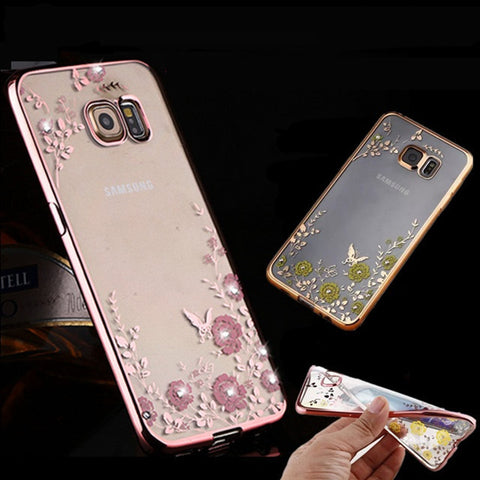 Fashion Diamond Flowers Cover Case for Samsung Galaxy S5/S6/S6 edge/S/S7 edge/A3100 5100 7100 /Note 3 4 5/ J3 J5 J7/A5 A7 A8 A9