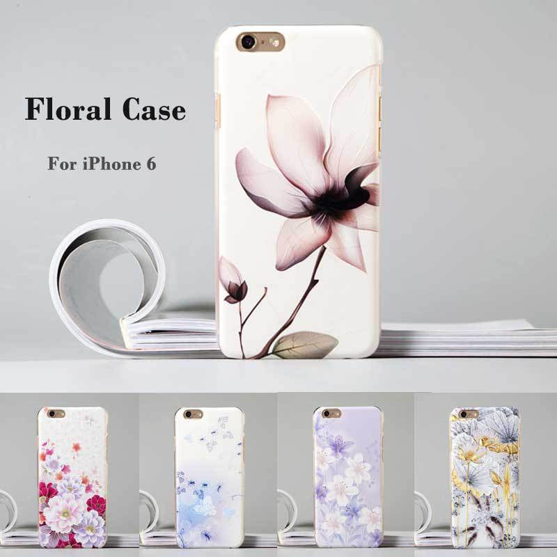 "Fashion Luxury Flower Painted 3D Relief sFor Apple iPhone 6s 6 iPhone6 4.7"" Case For iPhone 6s 6 Flower Cell Phone Case Cover"