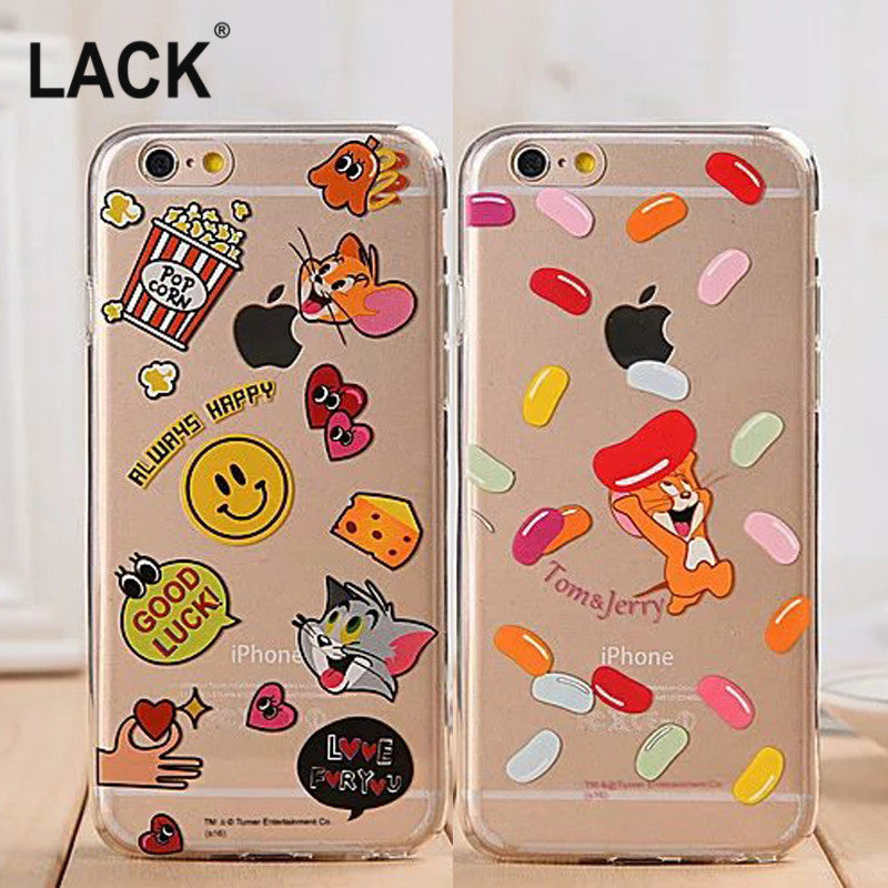 Cartoon Tom and Jerry Transparent Soft TPU For iphone 6 Case For iphone 6S 6Plus Cell Phone Cases Fashion Capa Fundas Coque