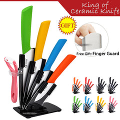 "3""4""5""6"" Inch kitchen ceramic knife set Holder + Peeler + Acrylic Stand(Optionals) Stainless Steel Finger Guard as Free GIFT"