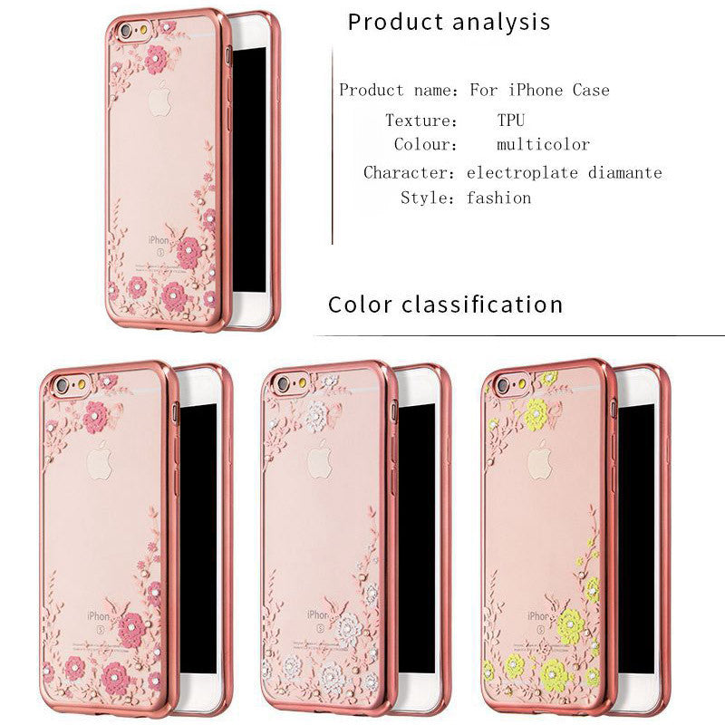 2016 Luxury Secret Garden Flowers Rhinestone Cell Phone Cases For IPhone 6 6S Plus 5 5S 4 4S 7 Plus Women Plating Rose Gold Case