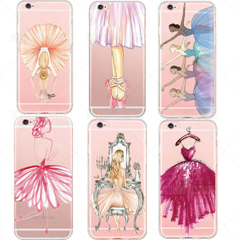 Fashion Luxury Phone Case for iPhone 6 6s 6plus 4.7/ 5.5 inch Beauty Dance Ballet Girl Design Cell Phone Back Cover Cases