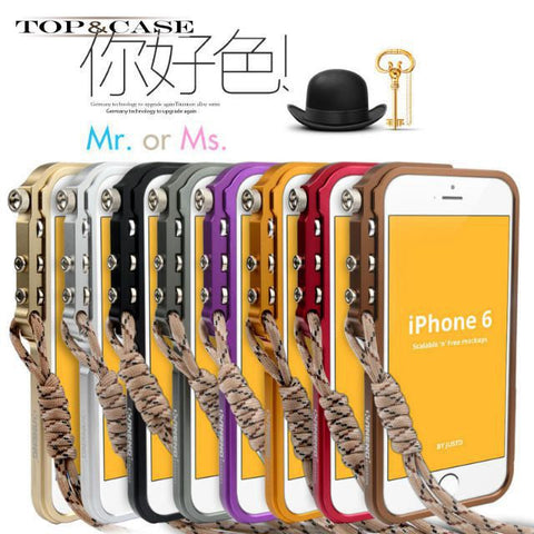 Aluminium alloy bumper for apple iphone 6 machinery metal armor cell phone case for iphone6 4.7 lanyard protective case SJ0731