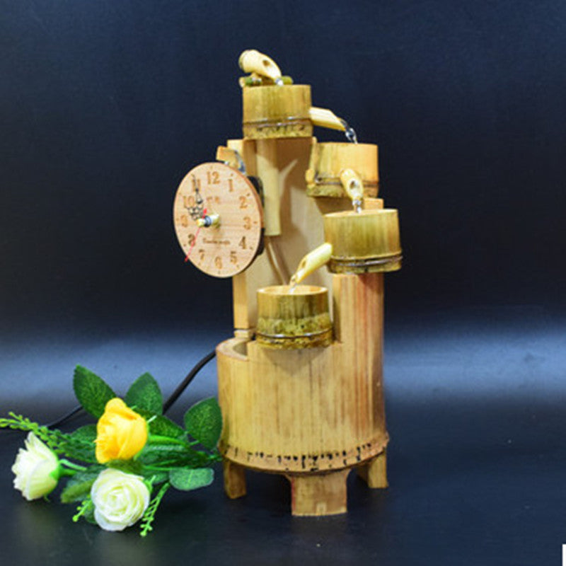 Bamboo bonsai water fountain creative clock, wall clock solid bamboo handicrafts