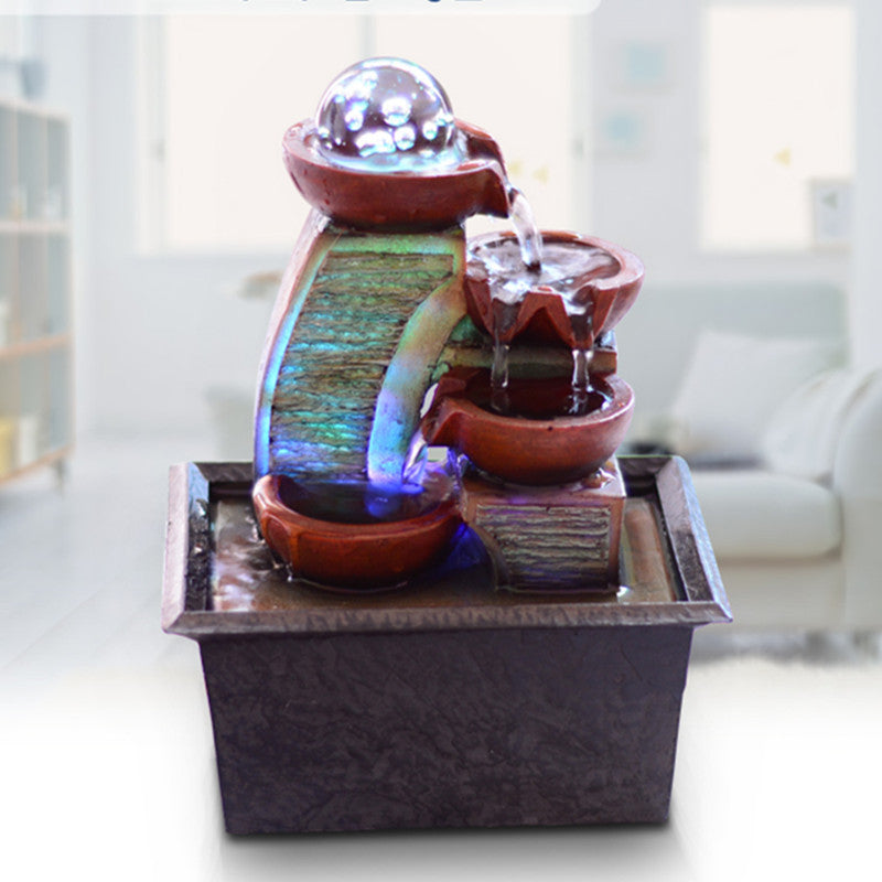 European simple small water fountain waterscape desk creative Fengshui round lucky decoration Home Furnishing living room decor