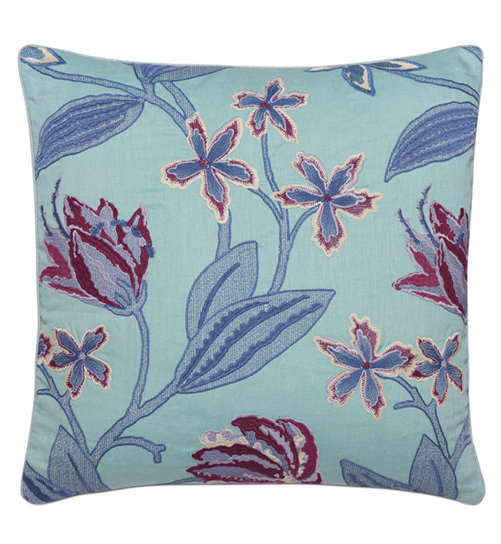 Beaulah Aqua Decorative Pillow 22x22