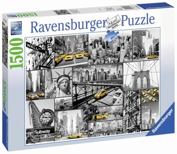 Rompecabezas Puzzle Ravensburger 1500 Piezas Collage Taxis New York.