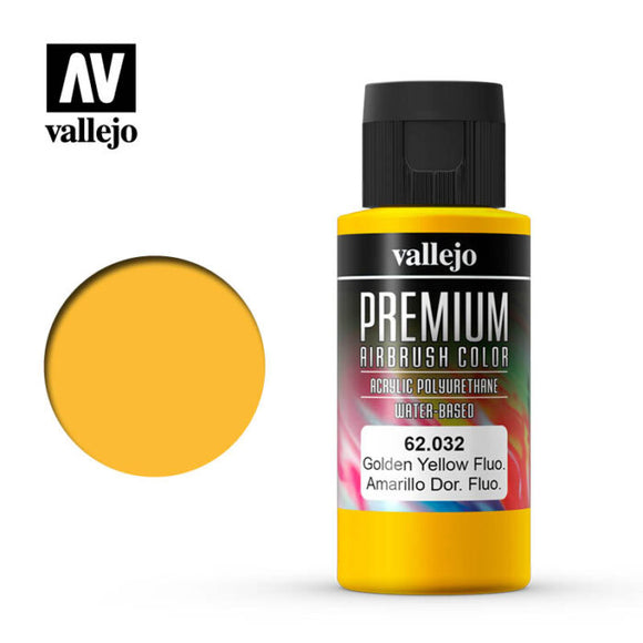 62032 Amarillo Dorado Fluorescente (Golden Yellow Fluo) 60ml. Premium Airbrush Color