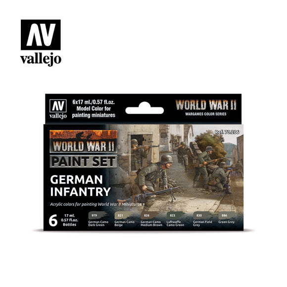 70206 Estuche de 6 Pinturas WWII German Infantry. Model Color Set