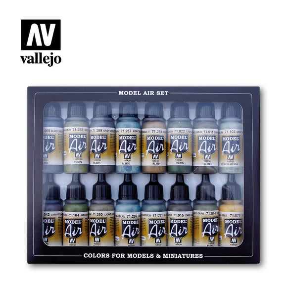 71193 Estuche de 16 Pinturas Colores RLM. Model Air Set