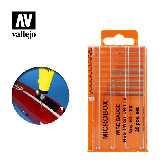 T01002 Set De 20 Mini Brocas De Precisión (61-80mm). Auxiliares Para Modelismo Vallejo
