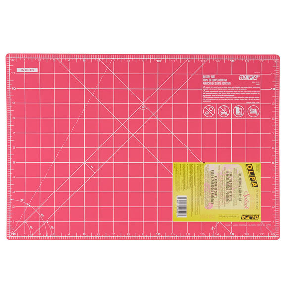 OLFA DOUBLE-SIDED CUTTING MAT PINK 45X30cm/12x18inches