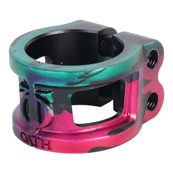 Oath Cage V2 Alloy 2 Bolt Clamp Green/Pink/Black