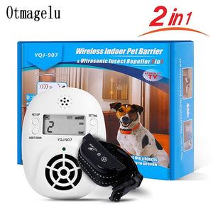 2 in 1 Wireless Electronic Pet Dog Fence Indoor Pet Barriers Management System with Pest Repellent Dog Training Collar Receivers