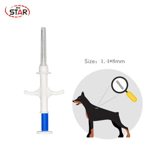 100pcs 1.4*8mm FDX-B 134.2KHz Disposable Pet animal rfid microchip syringe Glass Tag Syringe for Cow Pig Fish Farm management