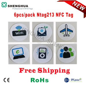 6pcs/pack Free Shipping NFC Contactless Smart RFID Label Sticker 13.56MHz PET Waterproof Android Industrial Management
