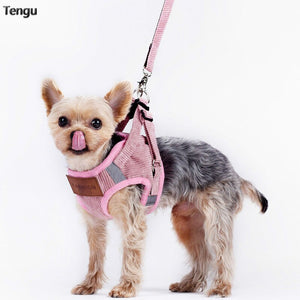 Pink Pet Chestback Dog Reflective Traction Rope Cat Manages Pomeranian's Behavior Ties Strong and durable  mesh vest harness