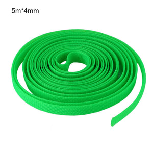 5M Black Insulated Braid Sleeving 4mm Tight PET Wire Cable Protection Expandable Cable Sleeve Wire Gland 4 Colors