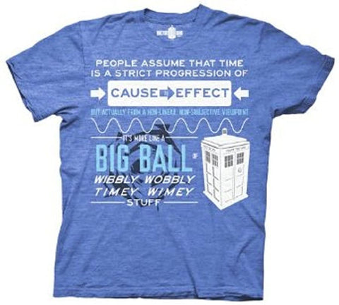 Dr Who Wibbly Wobbly Quote Heathered Royal Blue T-shirt (Large)…