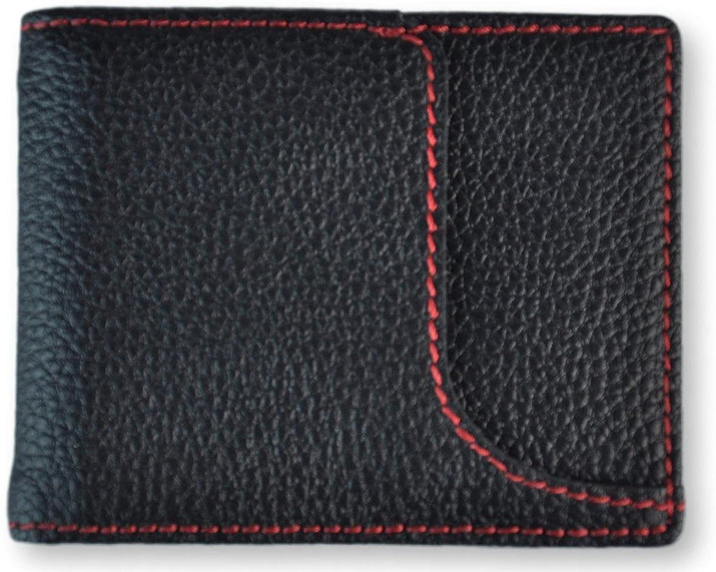 Royce Leather Men's Front Pocket RFID Identity Safe Wallet With Money Clip Black/Red