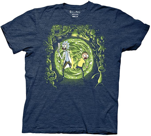 Ripple Junction Rick and Morty Portal and The Monsters Adult T-Shirt