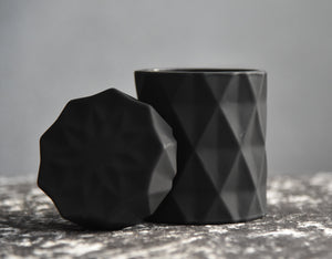 Diamond Matte Black Soy Candle Large with the lid off