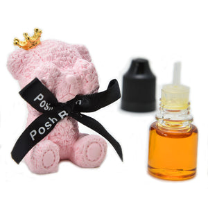 Pink Flower Bear with a Gold crown, shown with a refill bottle